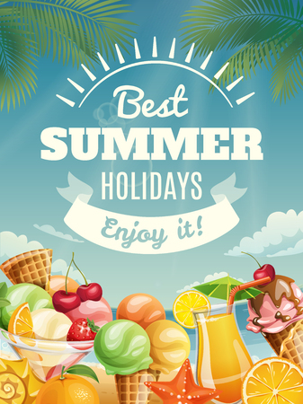 Vector summer poster with summer food elements. Best summer holidays banner with ice cream and juice.