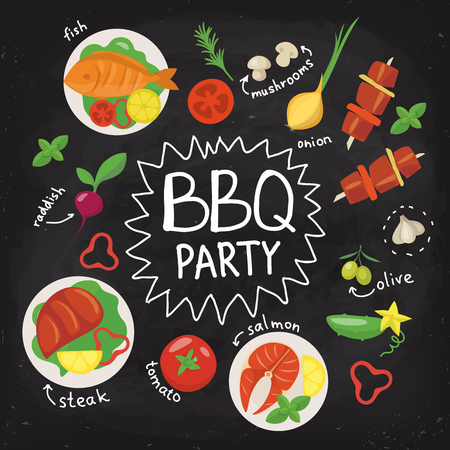 Chalkboard food poster. BBQ party poster in flat style. Food poster. Food infographic. Black board food poster with chalk written texts. Hand drawn calligraphy.