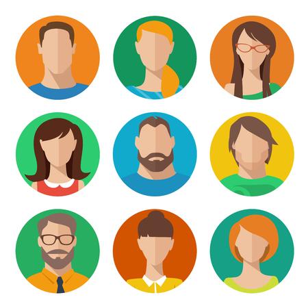 Ensemble de vecteurs d'avatars masculins et féminins de style plat Vecteurs