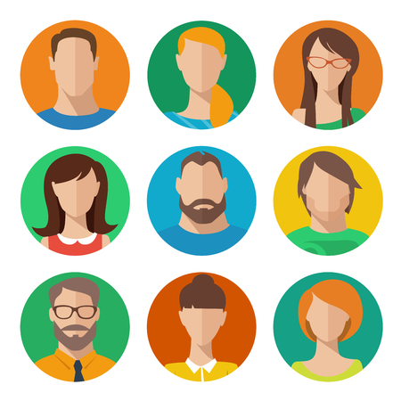 Vector set of flat style male and female avatars Vector Illustration