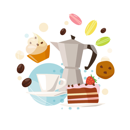 Infographic coffee and sweets. Flat coffee icons. Food and drink elements. Breakfast icons. Coffee kettle, cup, cake, macaroons, sweets and coffee beans.