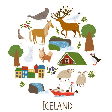 Iceland nature vector symbols of landscapes, animals and architecture. Ilustração