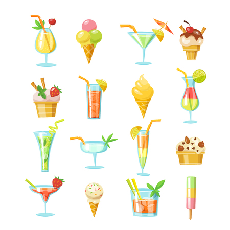 Set of vector cocktails and ice cream icons. Summer drink and food infographic elements. Векторная Иллюстрация