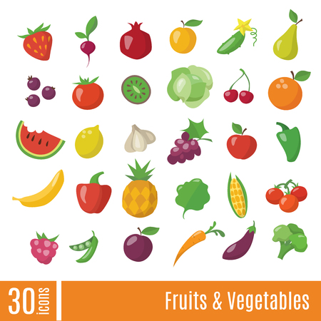 Fruits and Vegetables infographic icons set in flat style