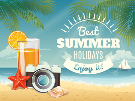 Vector summer background with summer elements. Poster or card for summer travel agency.