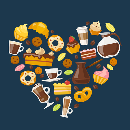 Vector coffee design with coffee and sweets elements. Coffee and breakfast infographic icons set. Coffee and sweets vector icons. Great design for coffee menu