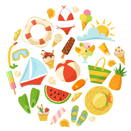 Summer design with food, toys, clothes and symbols in cartoon style.