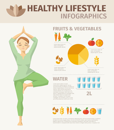 Vector healthy Lifestyle design food elements and woman character doing yoga. Иллюстрация