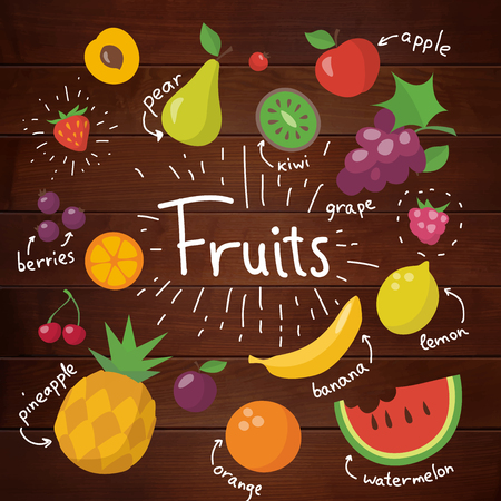 Vector food design with different fruits on wood background Stock Illustratie