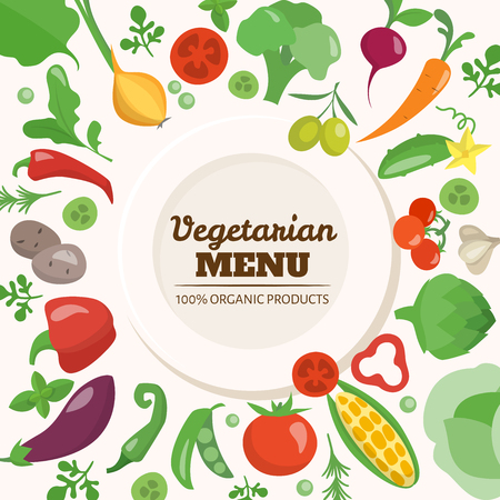 Vector poster with vegetarian food elements. Good for menu.