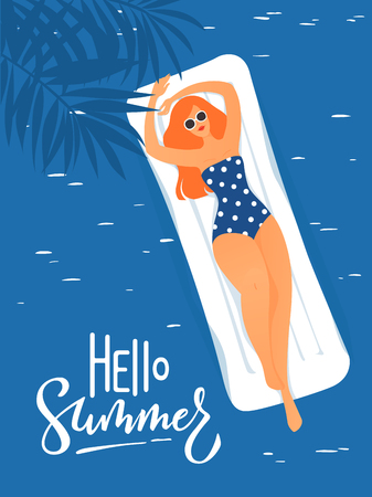 Vector hello summer poster with cute lady swimming in a sea
