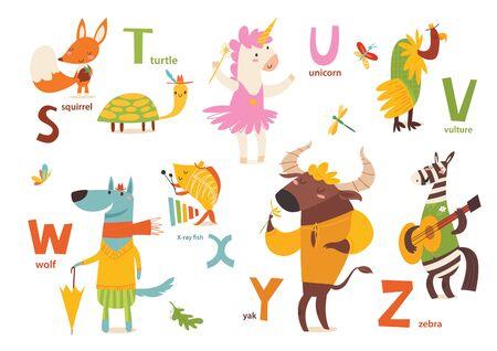 Part 4 of animals abc with cute cartoon animals and letters. Letters S-Z Vektoros illusztráció