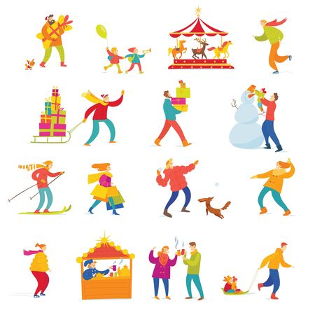 Big set of vector people doing shopping and winter holiday Christmas activities. Stock Illustratie