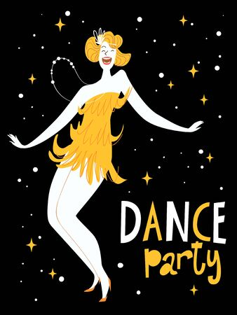 Vector dance party posters design. With cute dancing girl. Charleston dance party advertisment or invitation.