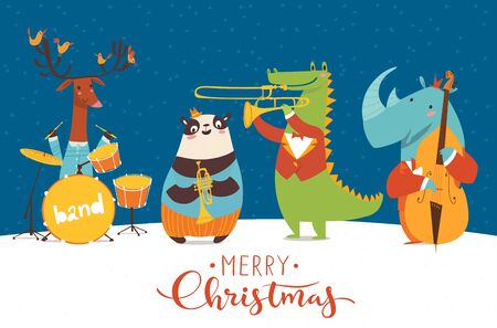 Christmas music night party poster. Vector music poster with cartoon animals musicians playing musical instruents. Jazz concert poster. Çizim