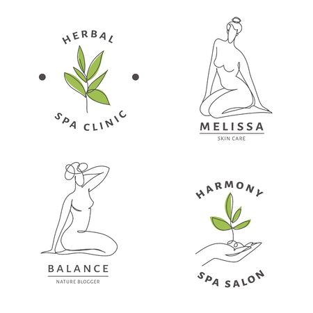 Spa salon icon templates with woman body and nature line art.