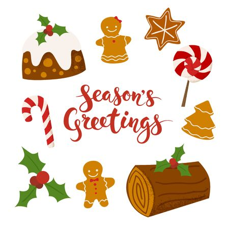 Season's Greetings vector card. Merry Christmas calligraphy. Christmas icons set. Food icons.