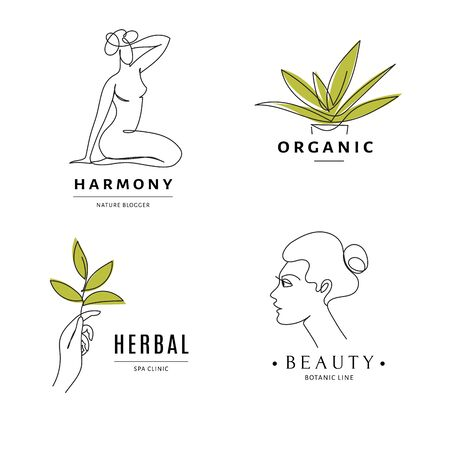 Spa herbal salon icon templates with body and nature line art.