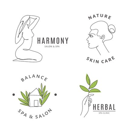 Spa salon icon templates with body and nature line art. Ilustracja