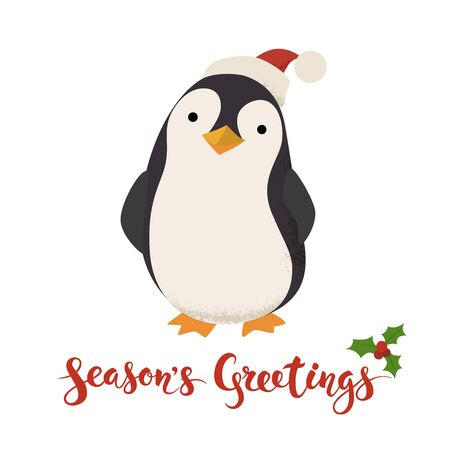 Seasons Greetings vector card with funny Christmas penguin Illustration