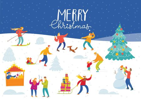 Vector Christmas winter card for holiday season with abstract people doing winter activities. Foto de archivo - 128604722
