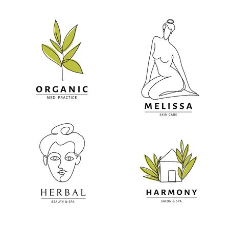 Spa salon harmony icon templates with body and nature line art.