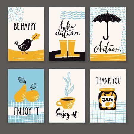 Conjunto de diseños de carteles de otoño con texto motivador. Ilustración de vector