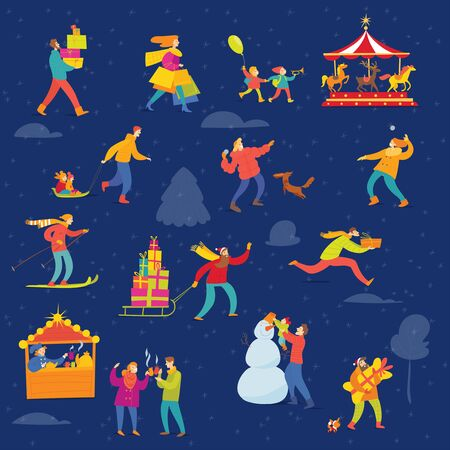 Vector Christmas winter poster night design for holiday season with abstract people doing shopping and winter sport activities. Foto de archivo - 128605560