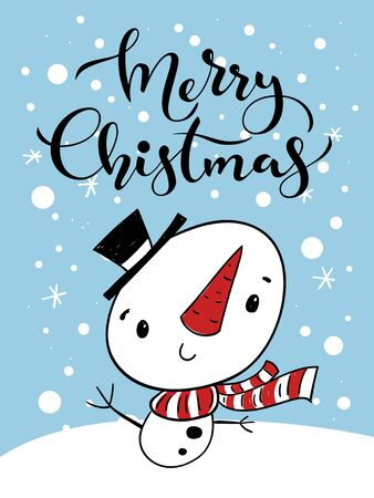 Vector holiday Christmas greeting card with cartoon snowman and Merry Christmas lettering. Kids room decoration.  Ilustracja