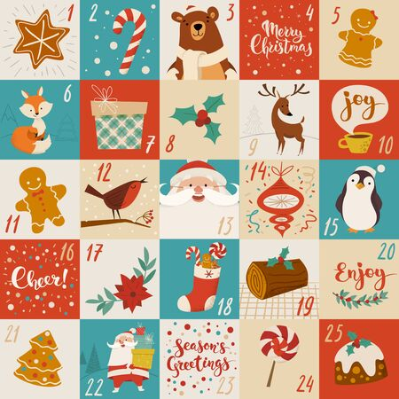 Christmas advent vector calendar design with holiday characters, food and symbols Ilustracja
