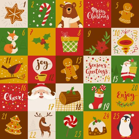 cartoon style Christmas advent vector calendar design with holiday characters, food and symbols