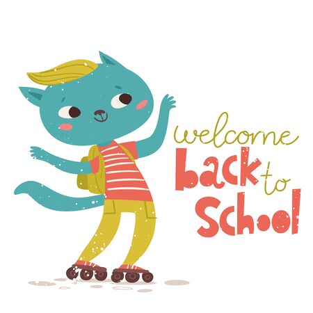 Back to school vector poster with cute cat character and lettering