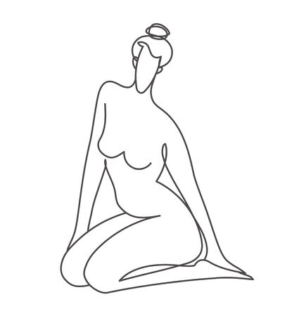 illustration of sitting nude woman in line art style Ilustracja