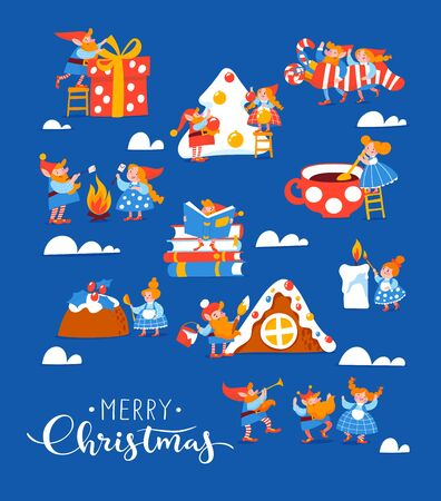 Christmas poster with cute elf characters celebrate Christmas