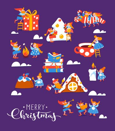 Vector Christmas poster with differents cute elf characters celebrate Christmas
