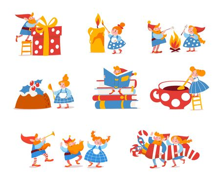 Set of cute elf characters celebrate Christmas holidays and do winter activities