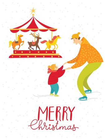 Merry Christmas vector card with family having fun Stock Illustratie