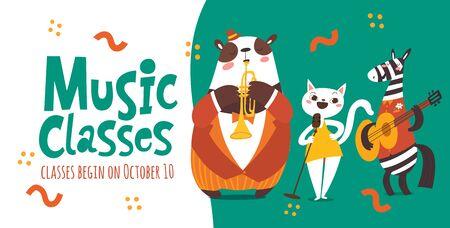Vector music classes advertisement flyer design with cute animals playing music