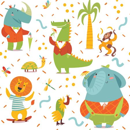Vector seamless pattern in kids style with cartoon Africa animals