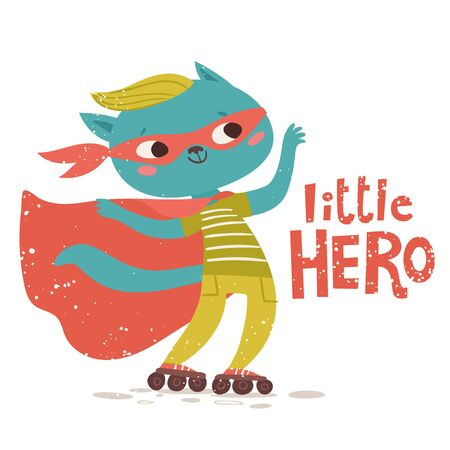 Vector poster design with cute cat and Little hero lettering Illustration