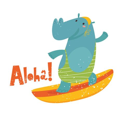 Cute Hippo on a board vector image with lettering Aloha Illustration