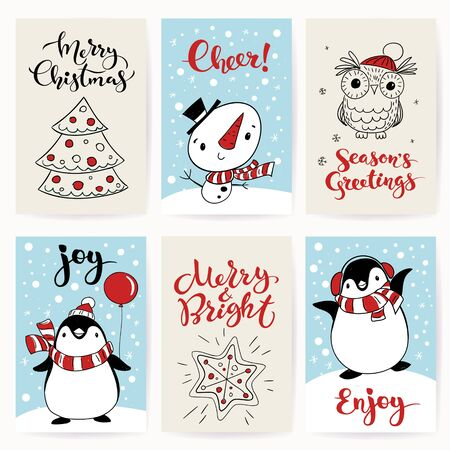 Christmas greeting cards with cute cartoon characters Illustration