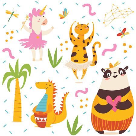 Seamless pattern in kids style with cartoon animals