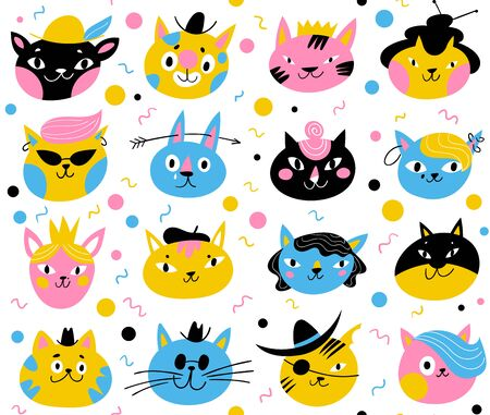 Vector seamless pattern for textile or backgroung paper with cats characters
