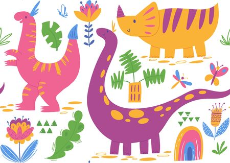 Vector seamless pattern with cute dinosaur characters
