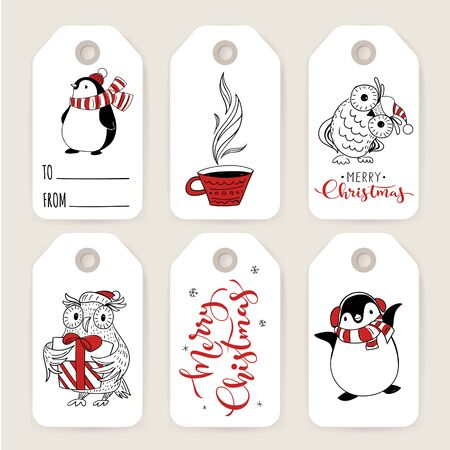 Tags and labels for Christmas with cartoon doodle style characters