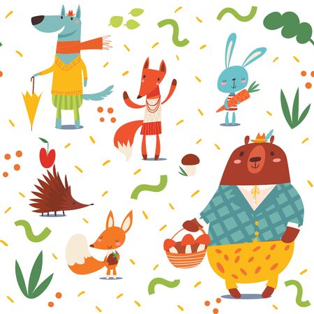 Seamless pattern in kids style with cartoon forest animals Illustration