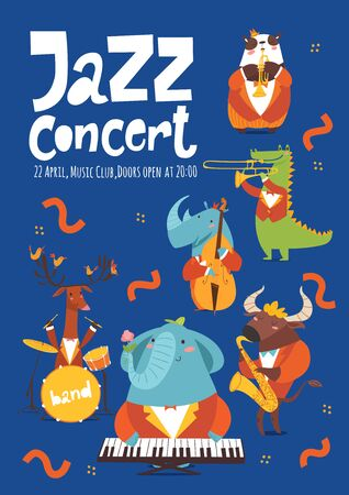 Vector design template for jazz music poster with cartoon animals playing music instruments