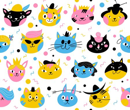 Vector seamless pattern for textile or wallpaper design with cats Illustration
