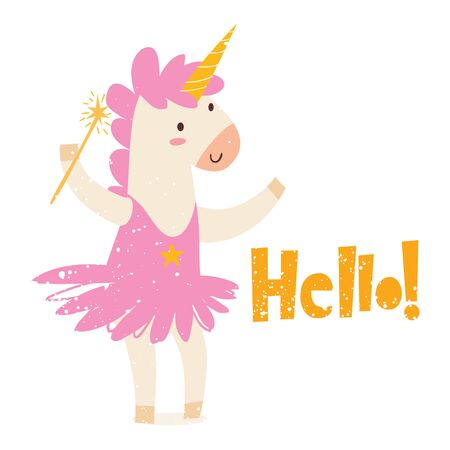 Cute magic unicorn image with lettering Hello Illustration